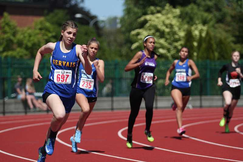 PHIL HAWKINS - Gervais freshman Katie Hanson won her preliminary heat in the 3A girls 400-meter dash in 1:02.14 to qualify for the finals.