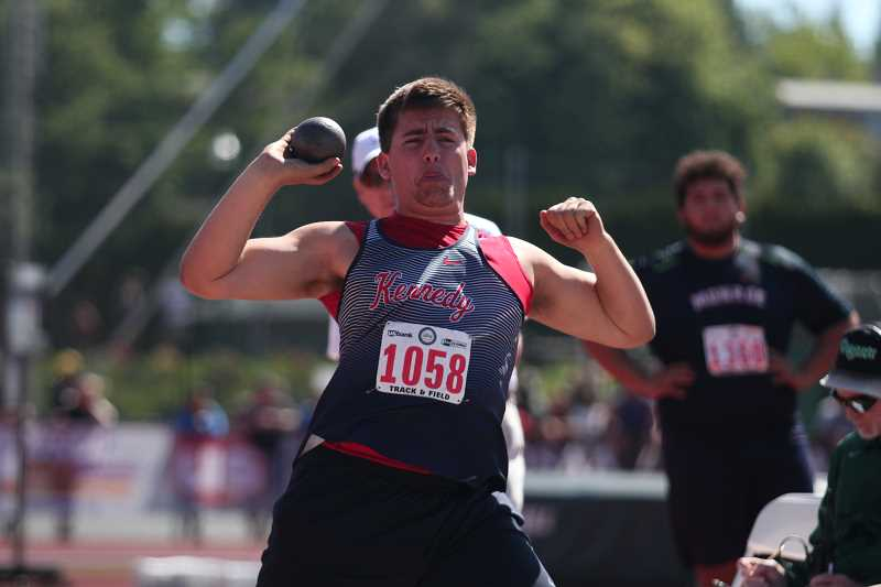 PHIL HAWKINS - Kennedy junior Nick Suing upped his personal best mark in the shot put to 43-02.75 to finish seventh in the event at the 2A Track and Field State Championships.