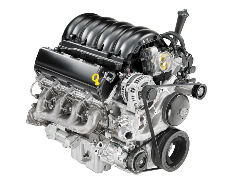 COURTESY CHEVY - The 2019 5.3L V-8 DFM VVT DI (L84) for Chevrolet Silverado paired with an eight-speed automatic transmission (SAE-certified at 355 hp/383 lb-ft).