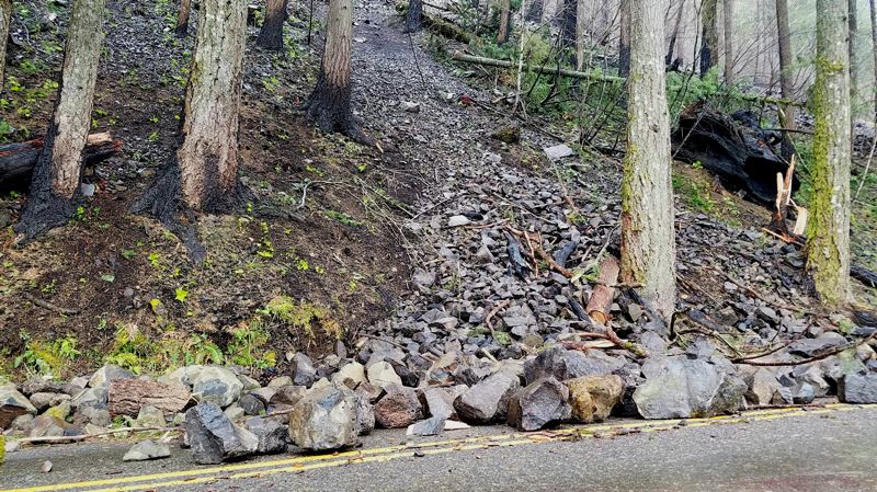 U.S. FOREST SERVICE - A rock slide caused by the Eagle Creek Fire on the Historic Columbia River Highway was triggered by clearing debris.