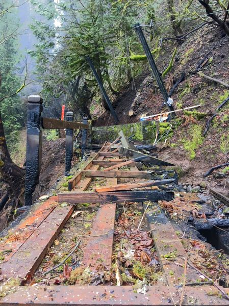 U.S. FOREST SERVICE  - Pictured is the Shady Creek Bridge on the trail up to Benson Bridge, was burned by the fire and needs replacement.