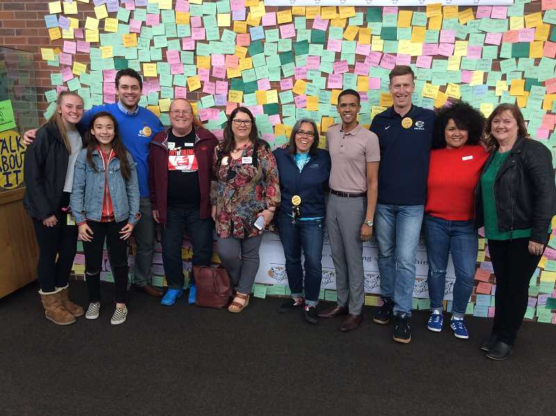 PHOTO COURTESY GREG DINSE - Former Canby High ASB president and Pulse Nightclub shooting survivor Brandon Wolf (fourth from the right) came to speak at Canby High during the Talk About It campaign.