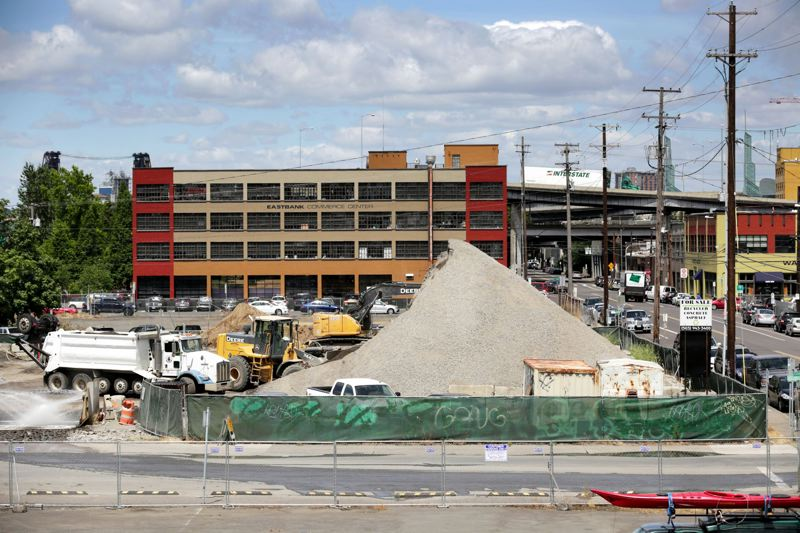 PAMPLIN MEDIA GROUP: FILE PHOTO - From 2015: Dirt and gravel is being stored on the block owned by ODOT along Southeast Water Avenue. ODOT owned the blocks on both sides of the lot as well, before selling to Prosper Portland in 2016.