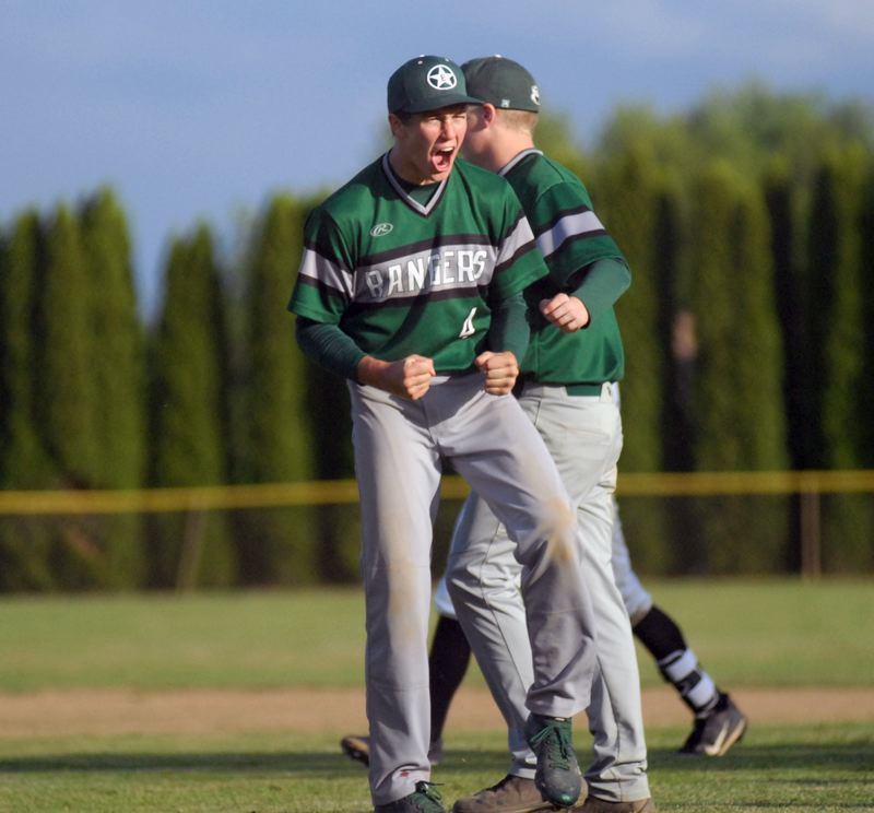 ESTACADA NEWS: MATT RAWLINGS - Wyatt Riedel clenches his fists in celebration after getting the final out in Estacada's 5-4 win over Scappoose.