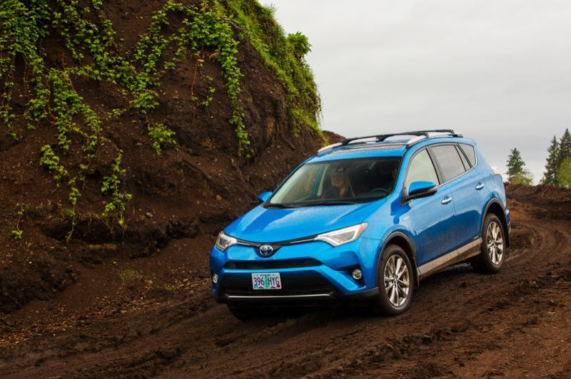 NWAPA/VINNIE NGUYEN - The 2016 version of the Toyota RAV4 Hybrid handled slick trails with ease during that year's Mudfest, the annual outdoor activity vehicle competition organized by the Northwest Automotive Press Association.