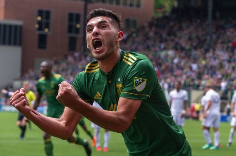 TRIBUNE PHOTO: DIEGO G. DIAZ - Portland Timbers midfielder Cristian Paredes scores the first goal of the Portland Timbers' 2-1 victory over LAFC on Saturday at Providence Park.