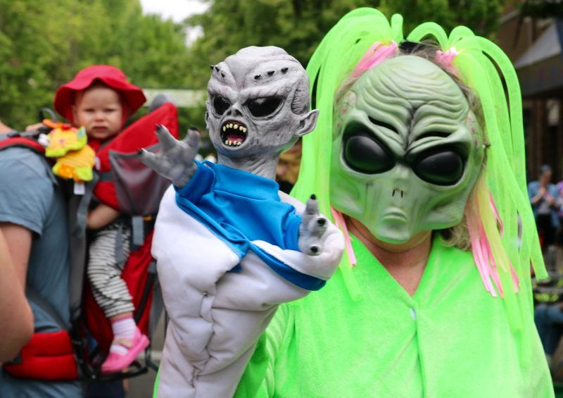 TRIBUNE PHOTO: ZANE SPARLING - Kimm Minkler, who grew up in Hillsboro, returned to McMenamins' UFO Festival for her fourth time because it's a place where she 'can hide behind a mask.'