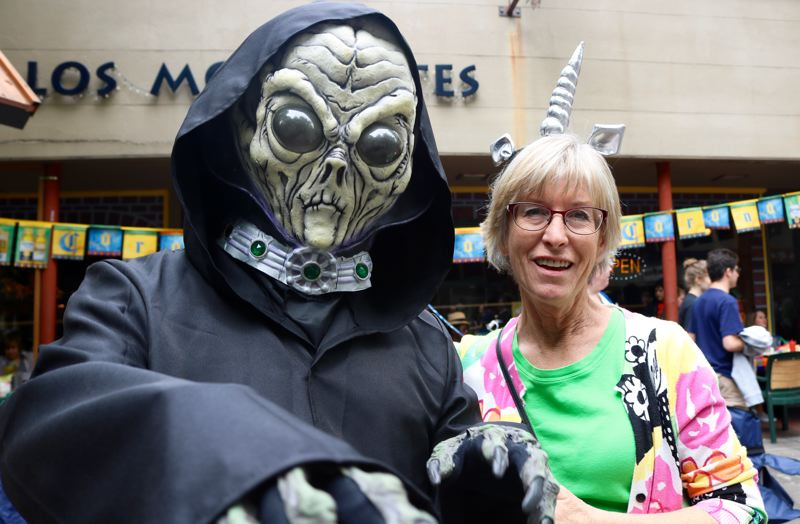 TRIBUNE PHOTO: ZANE SPARLING - Scott and Sharon Bohl are among the aliens attending McMinnville's UFO Fest.