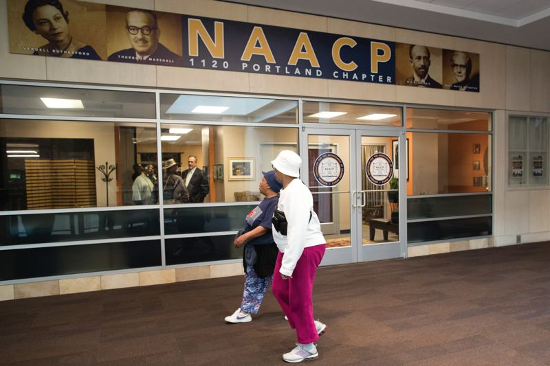 JAIME VALDEZ - Mall walkers and Marshall's customers have been a large proportion of the visitors to the new NAACP office in Lloyd Center mall. According to Antjuan Tolbert, assistant to E.D. Mondaine, German tourists have dropped in, as well as many blue-collar customers from Marshall's.