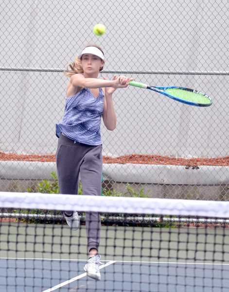 SPOKESMAN PHOTO: TANNER RUSS - Madeleine and Clarissa Klein won the opening round of play in the state tournament. The duo would lose to the eventual fourth place duo from Summit in the quarter finals.