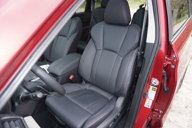 PORTLAND TRIBUNE: JEFF ZURSCHMEIDE - The large front bucket seats are among the most comfortable Subaru has ever offered. And in the four trim levels, some include heated perforated leather upholstery.