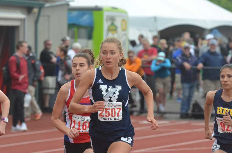 SPOKESMAN PHOTO: TANNER RUSS - Sophomore Samatha Prusse finished fourth in the 800-meter race, and fifth in the 1,500 meter race.