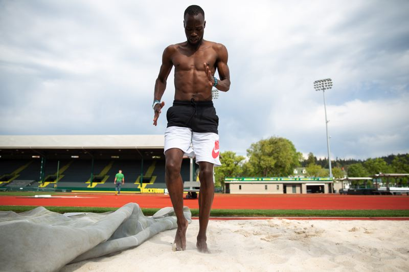 COURTESY: THEO MECHAIN/TRACKTOWN USA - Nijel Amos, who recently moved to Eugene, aspires to break the world record in the 800 meters. He'll be among the many stars at the Prefontaine Classic this week at Hayward Field.