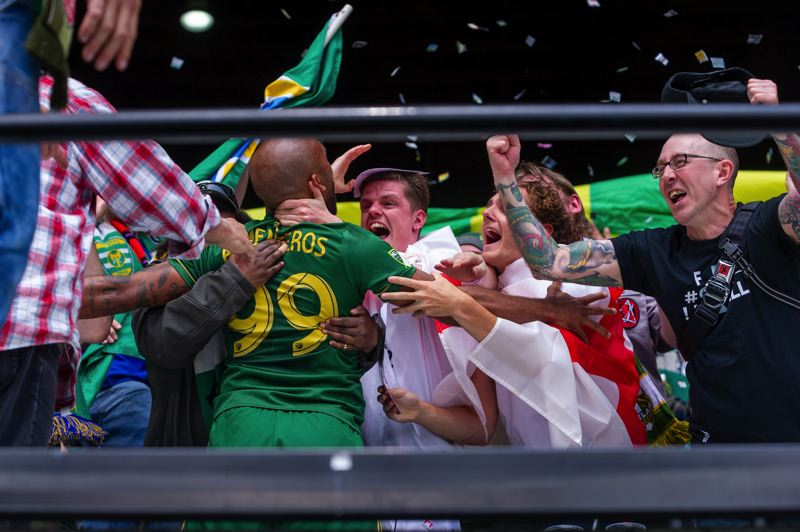 TRIBUNE PHOTO: DIEGO G. DIAZ - Samuel Armenteros celebrates with fans after his first MLS goal, which proved to be the difference in a 2-1 Portland Timbers victory at home over Los Angeles FC.