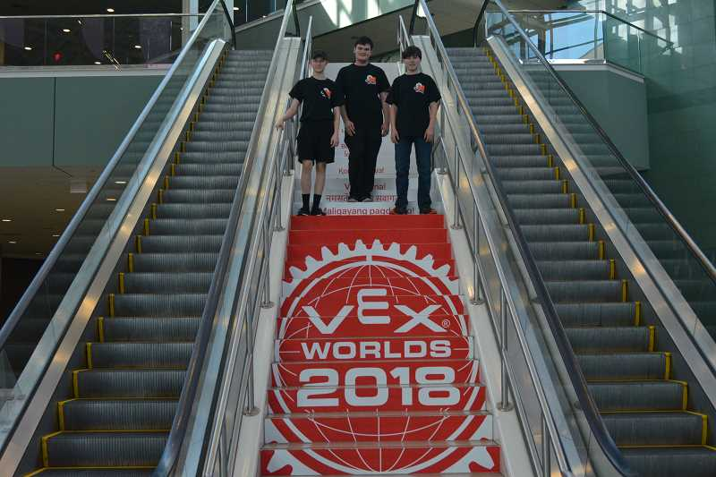 COURTESY PHOTO: DAVID LOWDER - The three members of the Gracious Professionals, (from left to right) Conner Foster, Justin Lowder and Alan Duce, experienced the VEX Robotics World Championship in Louisville, Kentucky last month.