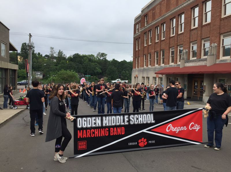 PHOTO COURTESY: TRACEY GRISHAM - Ogden Middle School's marching band gets ready to go along the parade route from the Clackamas County Courthouse.