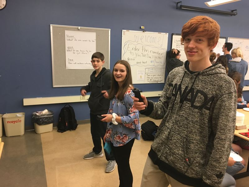 SUBMITTED PHOTO - Playing Wii at We Dine Together are Brayden Boyce, Shaylee Cooper and Nolan Rankin.