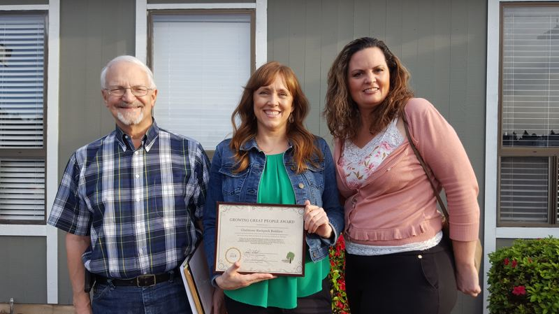 PHOTO COURTESY: LESLIE ROBINETTE - Steve Gifford of Gladstone First Baptist, teacher Linda Fletcher and special-education assistant Teresa Watts were recognized for their contributions to Gladstone's Backpack Buddies program.