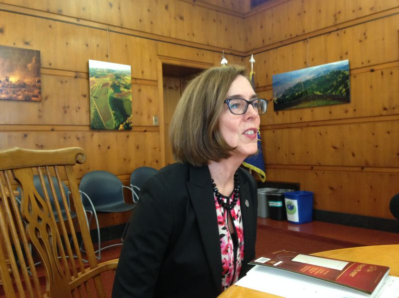 CLAIRE WITHYCOMBE/EO MEDIA GROUP - Gov. Kate Brown answsers questions from reporters after the close of the one-day special legislative session May 21, 2018.