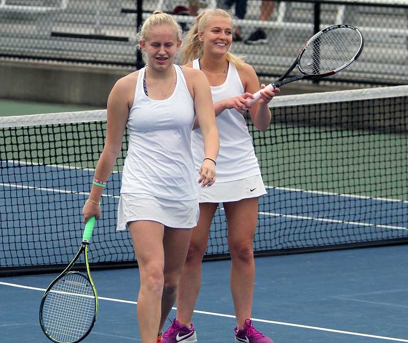 PAMPLIN MEDIA GROUP PHOTO: MILES VANCE - Diana Krischenko and Hannah Myers won the consolation bracket at the state tennis tournament, and earned honorable mention for their efforts.
