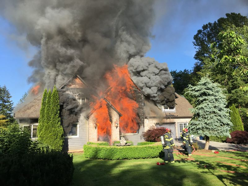 PHOTO COURTESY: CLACKAMAS FIRE - The home structure valued at $267,000 was determined to be a complete loss in the fire.