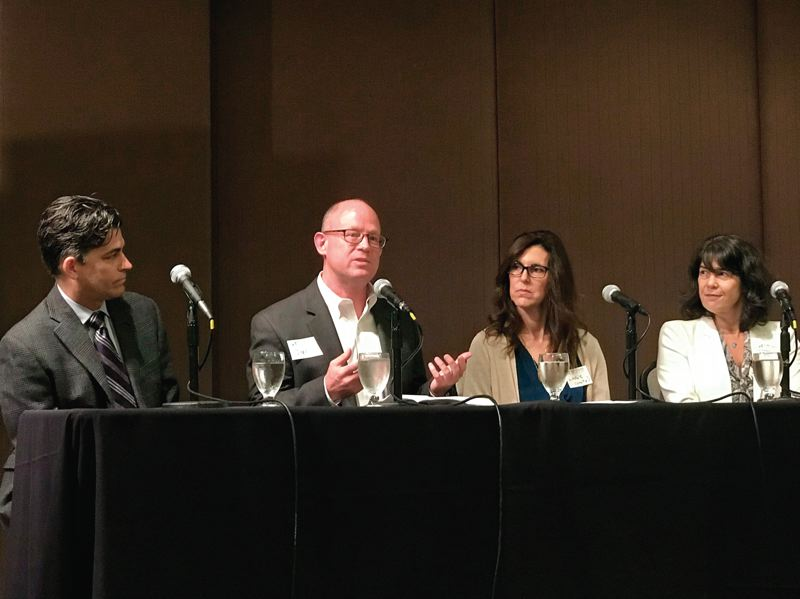 COURTESY PORTLAND BUSINESS ALLIANCE - Panelists at the Portland Business Alliance forum on the opioid crisis (from left): Dr. Andrew Mendenhall, the senior medical director of substance abuse services for Central City Concern; employment and labor attorney Jon Benson; Dr. Chris Farentinos, vice president of the Unity Center for Behavioral Health; and Multnomah County Commissioner Sharon Meieran.