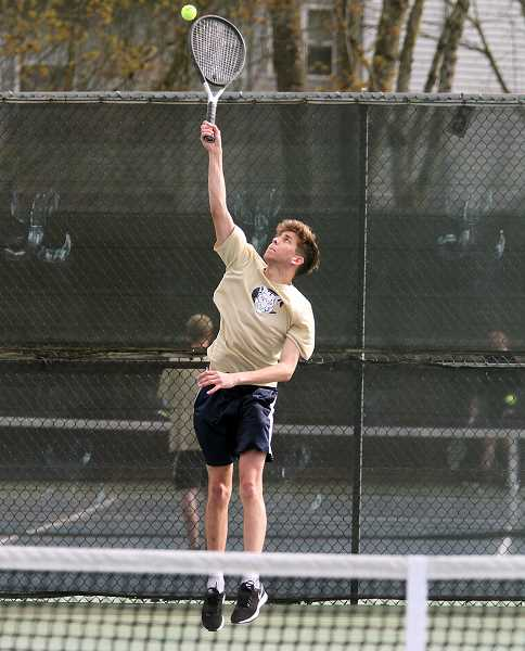 ARCHIVE PHOTO: MILES VANCE - Spencer Doman was one of two singles players to win a match at the district tournament.