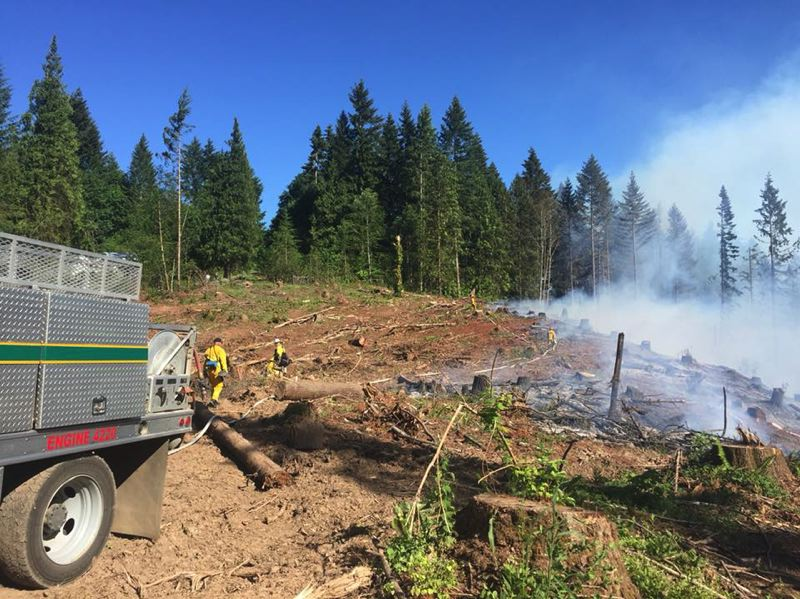 COLUMBIA RIVER FIRE AND RESCUE PHOTO - A brush fire in the Yankton area threatened at least 11 homes Tuesday afternoon as winds picked up. Several fire agencies responded to the incident.
