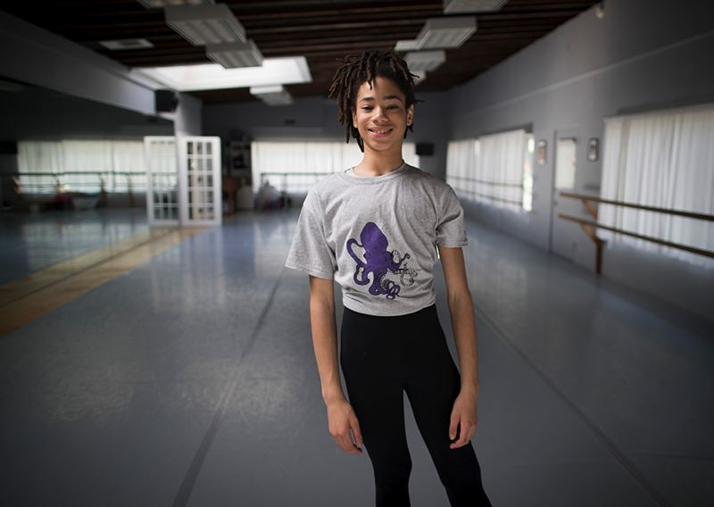 TRIBUNE PHOTO: JAIME VALDEZ - Hobbs Waters wears an original-design T-shirt, part of his City Troll line. Waters is selling the artwork and clothing to afford ballet camps this summer.