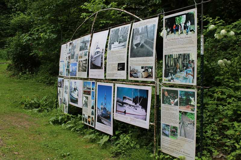 TIDINGS PHOTO: PATRICK MALEE - The Friends of Maddax Woods have put up interpretive signage about the Maddax boats on the exposed foundation of the boat barn. They hope to eventually build a replica barn and use it as an interpretive center.