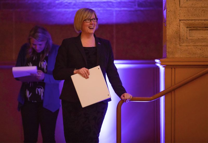 TRIBUNE PHOTO: JONATHAN HOUSE - Carla Qualtrough, Canadian Minister of Public Services and Procurement, speaks during the Oregon Consular Corps Trade Gala.