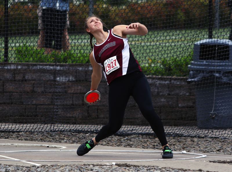TIMES PHOTO: DAN BROOD - Sherwood High School senior Shelby Moran won a state title in the discus event at the Class 6A state track and field championships.