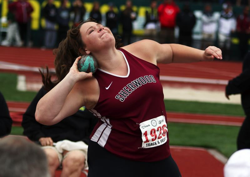 TIMES PHOTO: DAN BROOD - Sherwood senior Clair Johnson took ninth place in the girls shot put competition.