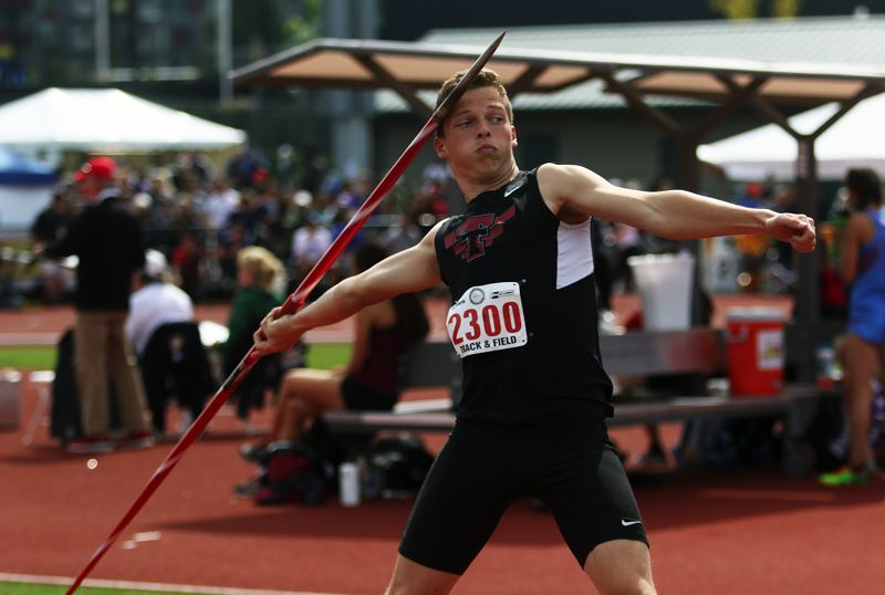 TIMES PHOTO: DAN BROOD - Tualatin High School junior Jalen Hale took fifth place in the the javelin event at the Class 6A state track and field championships.