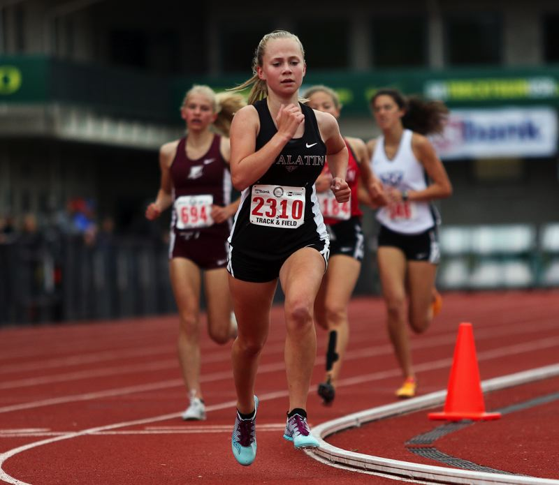 TIMES PHOTO: DAN BROOD - Tualatin High School sophomore Hannah Olson competed in the 3,000-meter run at the Class 6A state track and field championships.