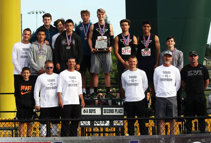 TIMES PHOTO: DAN BROOD - The Tigard High School boys track and field team won the second-place trophy at the Class 6A state track and field championships.