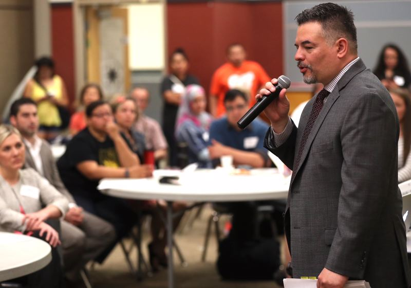 TRIBUNE PHOTO: JAIME VALDEZ - Superintendent Guadalupe Guerrero speaks Wednesday morning to Lent K-8 School parents, who have a wide range of complaints about the school management.