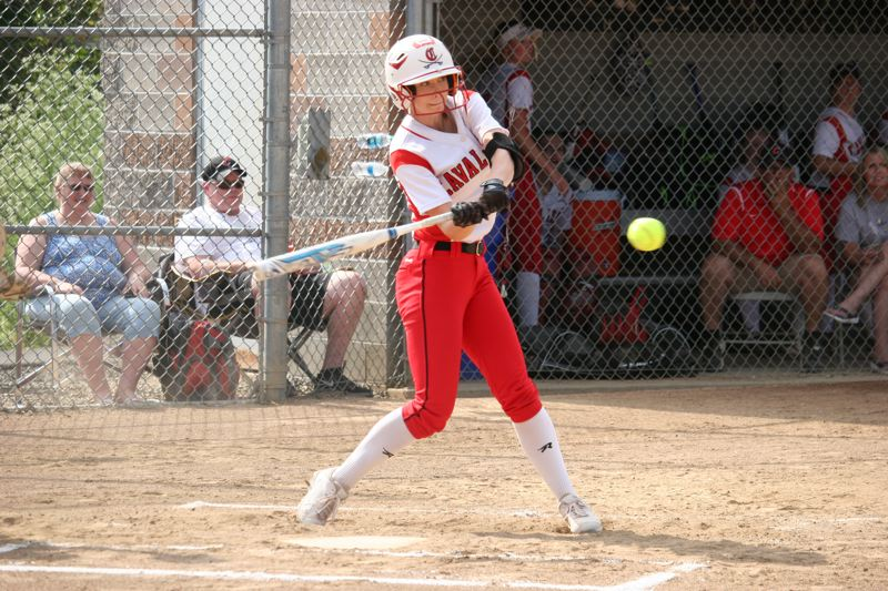 PAMPLN MEDIA: JIM BESEDA - Clackamas' Kylee Vanderbout drove in the go-ahead run with a fifth-inning, solo homer that helped  carry the Cavs to a 3-2 win over Roseburg in Wednesday's second round of the OSAA Class 6A softball playoffs.