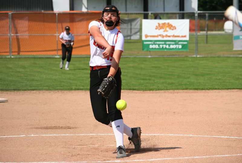 PAMPLIN MEDIA: JIM BESEDA - Gladstone's Shaye Pinner struck out nine of the first 12 Elmira batters she faced in Wednesday's 10-2 home win to open the OSAA Class 4A softball playoffs.
