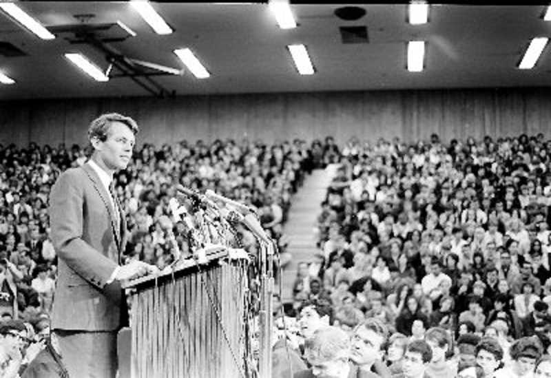 COURTESY OF TOM GEIL - Robert F. Kennedy spoke at Portland State University in March 1968 (shown here). On May 17, 1,300 students packed into the Sunset High School gym for what was a mock Democratic primary, which was won by Hubert Humphrey, U.S. vice president at the time.