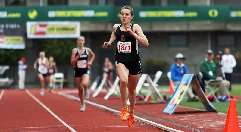SPOTLIGHT PHOTO - Scappoose senior Linnaea Kavulich was out in front one last time in winning the Class 4A state championship in the 1,500 meters at Hayward Field on Saturday.