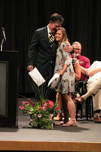 PIONEER PHOTO: KRISTEN WOHLERS - Marina Daniels receives the Chick Evans Caddy Scholarship for tuition and housing at University of Oregon.