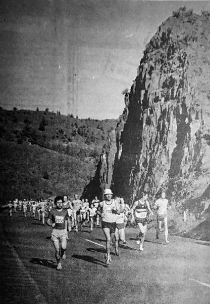 PHOTO COURTESY OF JOHN WAGNER - Runners head up the John Day River from Service Creek at the start of the 1981 Eastern Oregon Half Marathon. The half marathon, which runs from Service Creek to Spray, is one of the oldest in the country.