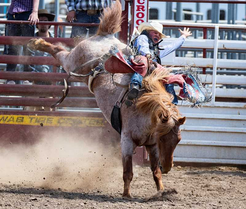 LON AUSTIN/CENTRAL OREGONIAN - Pacer Quire makes a bareback ride earlier this year. Quire is the state leader in the event heading into the Oregon High School Rodeo Association Finals. Quire is also second in the rookie of the year points standing.