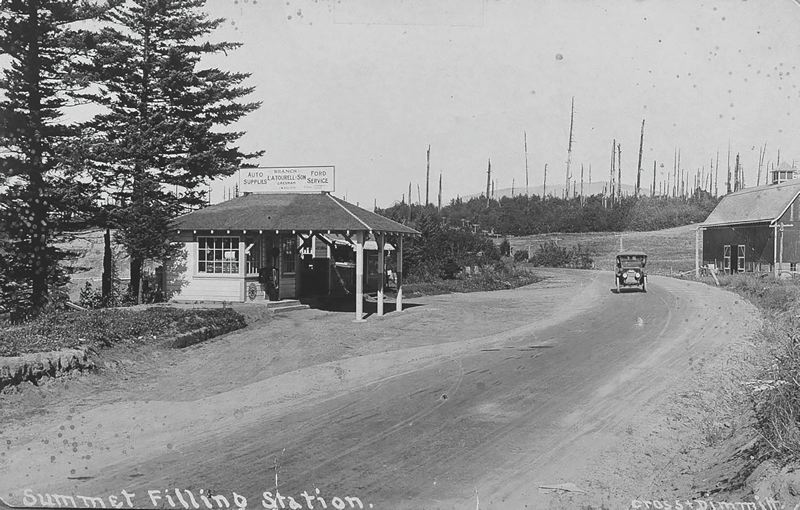 CONTRIBUTED PHOTO: CROWN POINT COUNTRY HISTORICAL SOCIETY - The Summit Filling Station was built on the rim of Crown Point in the early 1920s, near to the turn-off to what is now Knieriem Road.