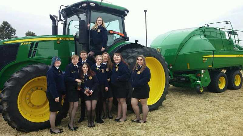 COURTESY PHOTO: LUPE HOBGOOD - Colton FFA members who attended the Oregon FFA State Convention in Redmond, Oregon were from left: Kiely Pitts, Honor Hansen, Kale Sanders, Rayne Burke, Synove Hansen, Madelyn Robinson, Katelyn Dutton, Alexis Green, Jenna McKedy.