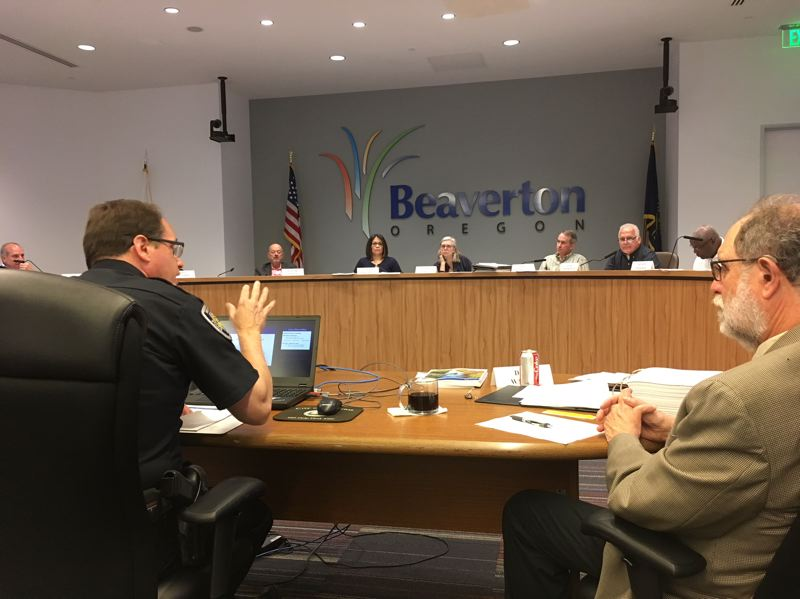 PAMPLIN MEDIA GROUP: PETER WONG - Police Chief Jim Monger explains the cost escalation for the proposed Public Safety Center during a meeting Thursday night (May 24) of the Beaverton City Budget Committee. Assistant Finance Director Dave Waffle is to Monger's right.