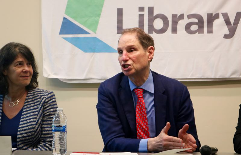 TRIBUNE PHOTO: ZANE SPARLING - U.S. Senator Ron Wyden, D-Oregon, speaks during a net neutrality conference at the Hillsdale Library on Friday, May 25 in Southwest Portland.