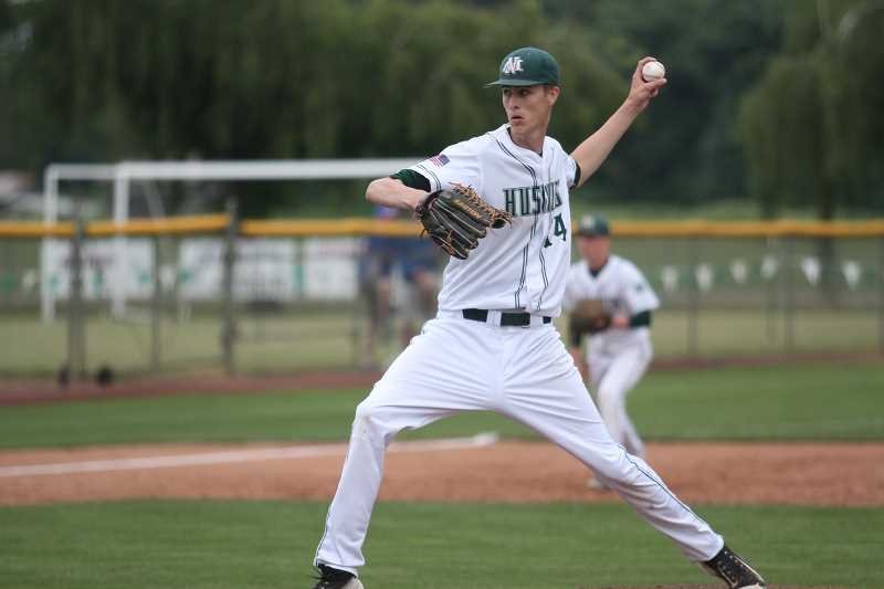 PHIL HAWKINS - North Marion senior Trevor Ensign held Madras to three hits and no runs in four and one third inning to earn the victory in the Huskies' 5-0 win on Friday.