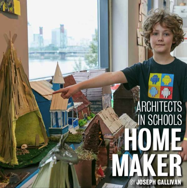 PHOTO: SALLY PAINTER  - Toby Staggs, age 10, of Cottonwood School of Civics and Science, points to the model of a wickiup native dwelling he made as a culmination of the Architects in Schools program, which seeks to introduce architectural principles to elementary schoolers.